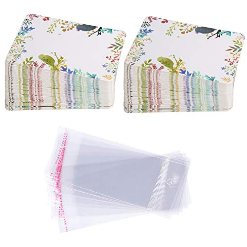 Earring Cards Set, 100 Pcs Paper Earring Display Cards with 100 Pcs Self-Seal Bags, Fashion Colorful Card Holder Organizer Tags DIY Handmade Packing Cards for Earring Stud Necklace (Birds)