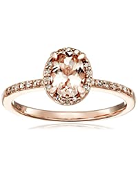 10k Pink Gold Morganite and Diamond Ring (1/10cttw, I-J Color, I2-I3 Clarity), Size 7