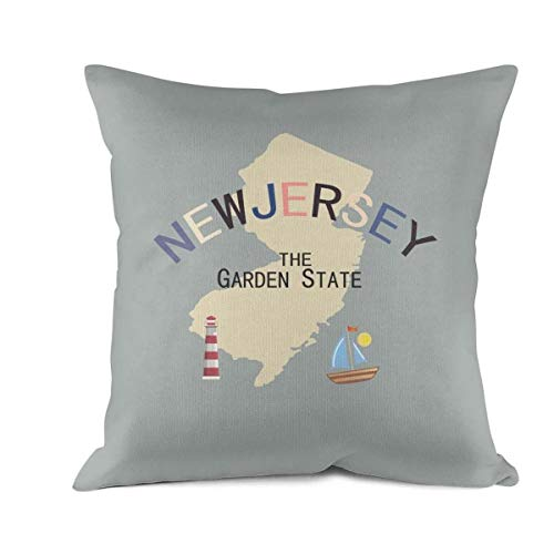 Nkctw Throw Pillow Covers State of New Jersey Decorative Pillows Cases Pillowcases for Car Decoration Pillow Protectors Standard Size 18 X -