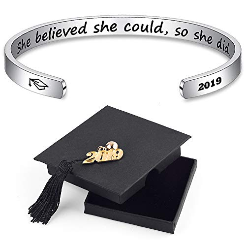 IEFSHINY 2019 Graduation Gift Cuff Bracelet - She Believe She Could So She Did Inspirational Stainless Steel Cuff Bangle with Sayings Graduation Gift for -