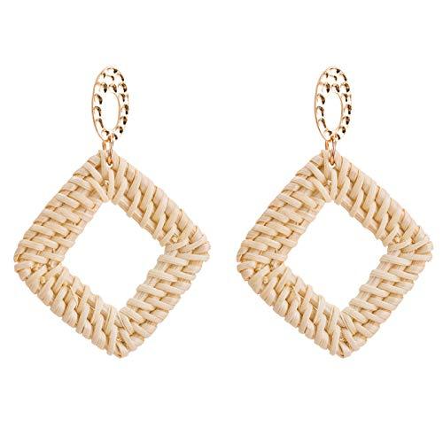 Womens Girls Rattan Earrings, Handmade Weave Straw Bohemia Statement Geometric Drop Stud Earrings Jewelry Gifts (square)