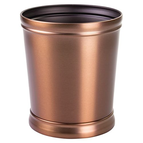 mDesign Decorative Round Small Trash Can Wastebasket, Garbage Container Bin for Bathrooms, Powder Rooms, Kitchens, Home Offices - Durable Steel in Venetian Bronze Finish and Black Interior