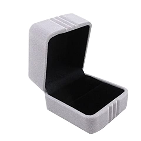 NUOLUX Ring Boxes Small Square Velvet Ring Box Jewelry Storage for Wedding (Grey)