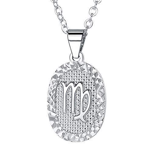 FOCALOOK Women Zodiac Sign Virgo Jewelry Platinum Plated Oval Constellation Horoscope Pendant Necklace Birthday Gift ()