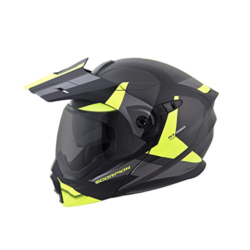 - ScorpionEXO Unisex-Adult Modular/Flip Up Adventure Touring Motorcycle Helmet (Hi-Viz, Large) (EXO-AT950 Neocon)