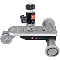 Kingjoy PPL-06S Mini Motorized Electric Track Slider Dolly Car Skater Pulley Rolling 3-Wheel Video Photography Track Rail for Canon Nikon Sony DSLR Camera Smartphone