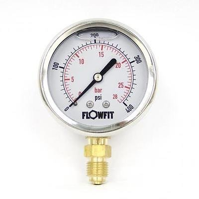 63mm Glycerine Filled Hydraulic pressure gauge 0-400 PSI (28 BAR) 1/4' bsp bottom entry Flowfit