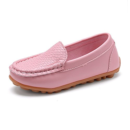 SOFMUO Boys Girls Leather Loafers Slip-On Oxford Flats Boat Dress Schooling Daily Walking Shoes(Toddler/Little Kids) Pink,29 by SOFMUO (Image #1)
