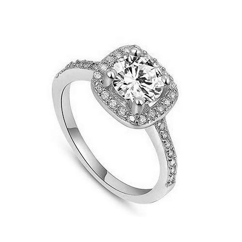 wsloftyGYd - Anillo de Boda para Mujer, Chapado en Oro Blanco de 9 Quilates, circonita y Diamantes de imitación, Anillo de...