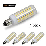 [4-Pack] E11 led Bulb, 75W or 100W Equivalent Halogen Replacement Lights, Dimmable, Mini Candelabra Base, 850 Lumens, Warm White 3000K,AC110V/ 120V/ 130V, Replaces T4 /T3 JD e11 Light Bulb.