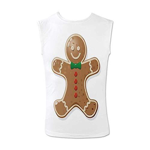 (Gingerbread Man Comfortable Tank Top,Iconic Seasonal Baked Pastry Sugary Treats for Kids Joyous Fun Xmas Decorative for Men,M)