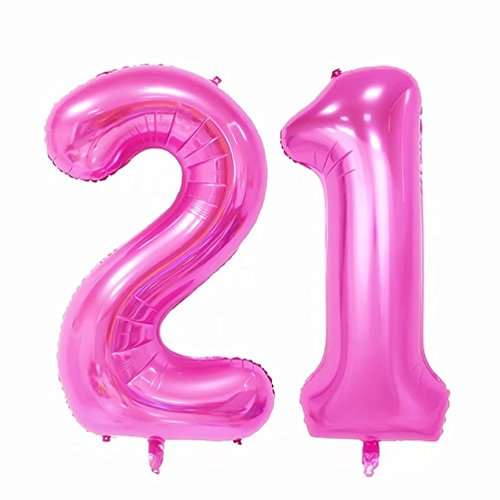 KEYYOOMY 40 in Large Number 21 Balloons Pink Jumbo Foil Mylar Number Balloons for 21 Birthday Party Adult Ceremony Anniversary Celebrate Parties Decorations (Number 21 or Number 21, Pink Color)]()