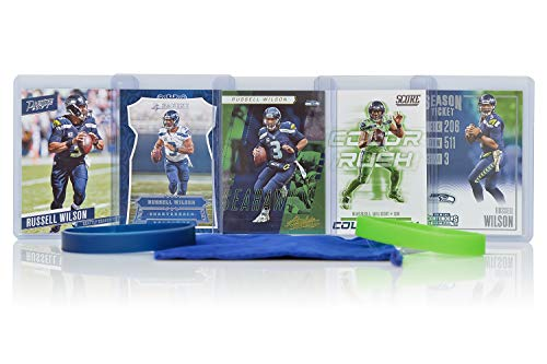 - Russell Wilson (5) Assorted Football Cards Bundle - Seattle Seahawks Trading Cards
