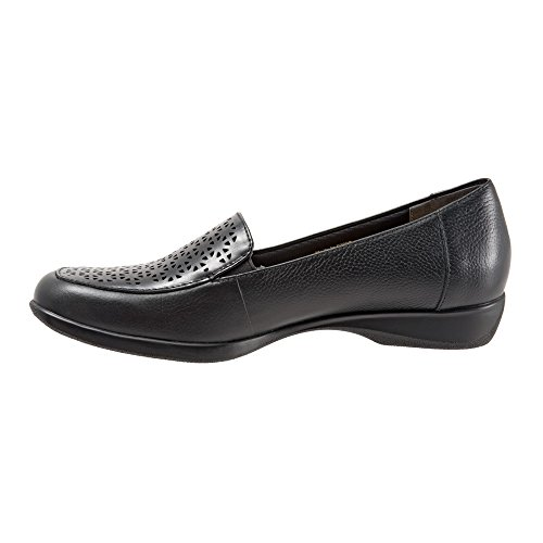 Trotters Women's Jenn Laser Flat Black Soft Tumbled Leather Laser Cut tumblr for sale free shipping cheapest price JUFrNm