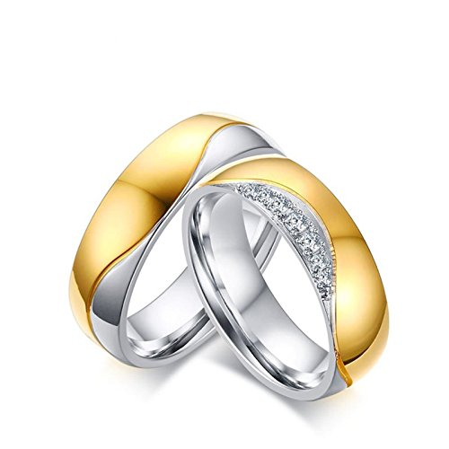 ANAZOZ Stainless Steel Two Tone Zirconia Matching Rings for Couples Set Women Size 9 & Men Size 9