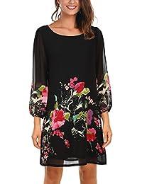 Women's Floral Pattern 3/4 Sleeve Loose Fit Chiffon Tunic...