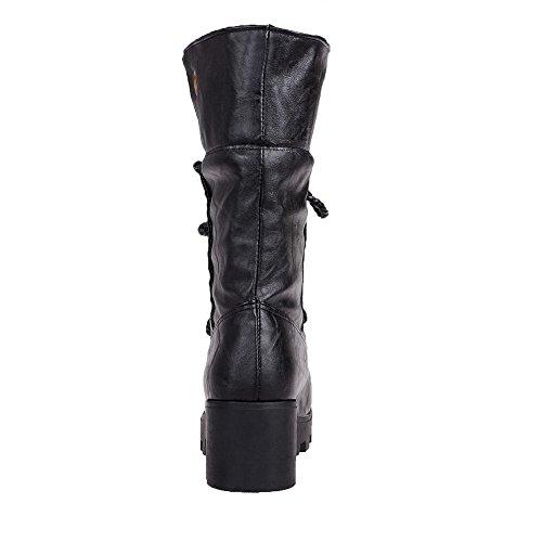 Stivali Media Tacco Donna Shoes Puro Nero Allacciare AgeeMi Altezza Medio Luccichio w0zHpq