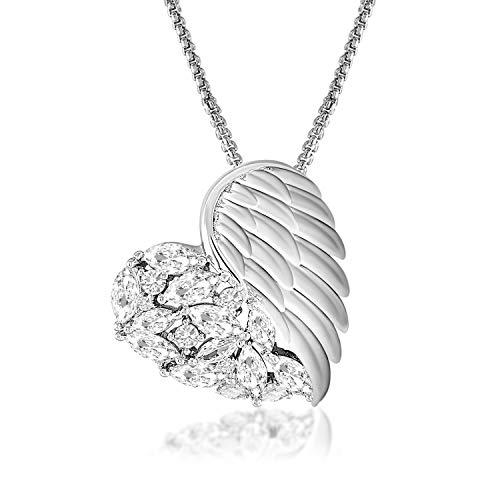(QLEESI Love Heart Angel Wing Pendant Necklaces for Women Silver, CZ Cubic Zircon Feather Charm, Birthday for Mother's Day Wife Girlfriend Females Jewelry)