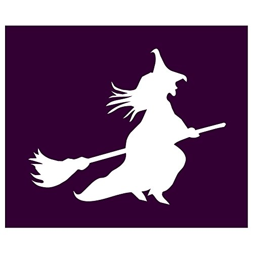 Auto Vynamics - STENCIL-WITCH-02 - Classic Witch Flying On Broom Individual Stencil from Detailed Witches & Witchcraft Stencil Set! - 10-by-8.5-inch Sheet - Single Design (Magic Set Pocus Hocus)