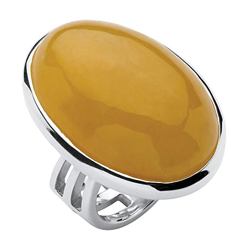 (Genuine Yellow Jade .925 Sterling Silver Oval Cabochon Cocktail Ring )