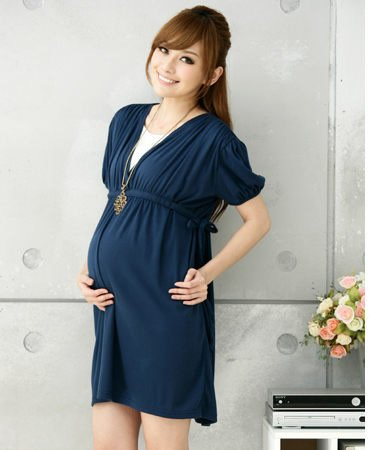Blue Summer Maternity Dress Casual One-Piece Cotton Dress For Pregnant Women