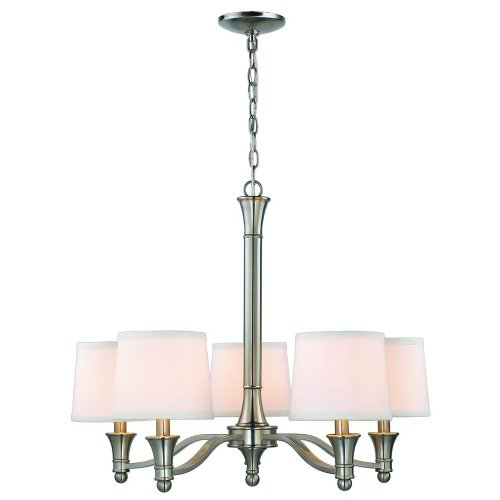 Hampton Bay 5-light Brushed Nickel Chandelier with White Fabric Shades (Fabric Chandelier Shade)