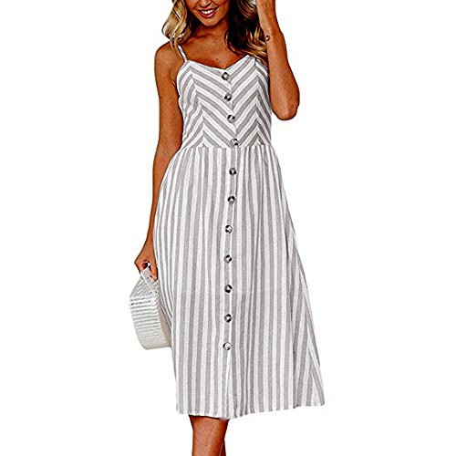 iLUGU Urbanization Midi Dress for Women Sleeveless Off Shoulder Backless Button Shoulder-Strap Stripe Gown Gray]()