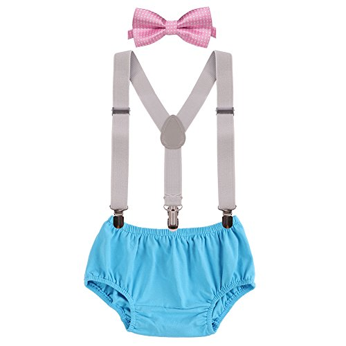 - Baby Boys First Birthday Adjustable Y Back Elastic Clip Suspenders Cake Smash Outfit Tuxedo Pre-tied Bloomers Bowtie set