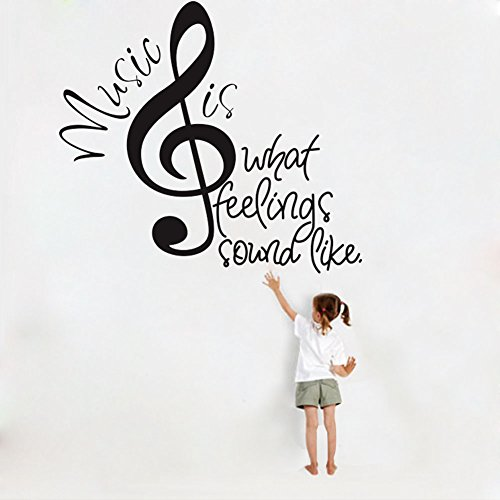 Removable DIY Wall Note Decor Stickers, Music Note Is What Feelings Sound Like Letter Words Wall Stickers Decal Home Decor Art Mural (Black)