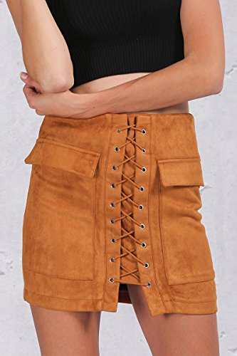 [Walid-Autumn lace up suede leather women skirt 90's Vintage pocket preppy short skirt Winter high waist casual skirts ( Size M] (1970s Tennis Costume)