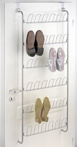 WENKO 4340030100 Türregal für Schuhe - für 18 Paar, verchromtes Metall, 59 x 151 x 14 cm, Silber glänzend