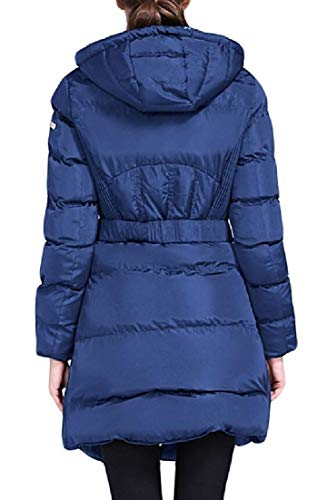 EKU Padded Coat Women's Blue Puffer Belted Down Jacket Winter Hooded 1t6w1xqr8