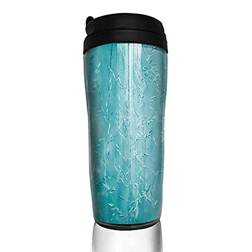 - coffee cups with lids Turquoise,Blur Meadow Grass Plant Herb in Countryside Rural Spiritual Mystical Seasonal Picture, Blue 12 oz,coffee cup hooks for hanging rustic