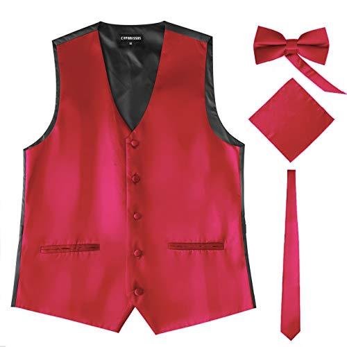 Cyparissus Mens Vest Waistcoat Men's Suit Dress Vest for Men or Tuxedo Vest (XX-Large, Red 4#) ()