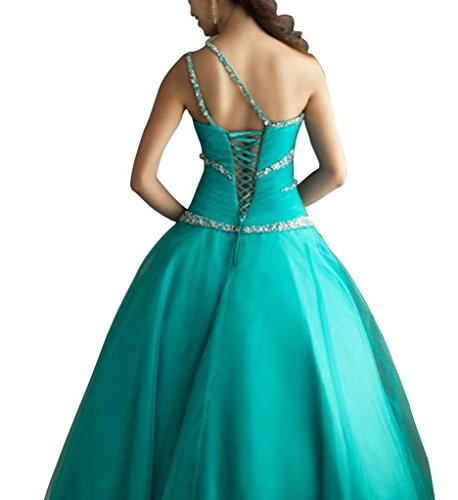 GEORGE BRIDE Tuerkis Abendkleid einer Kleid Perlen bodenlangen Schulter rd08r6P