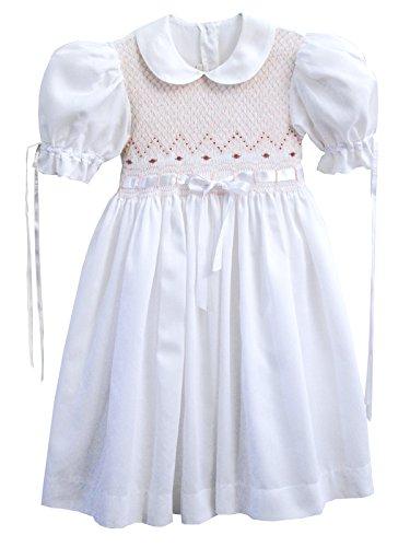 Carouselwear Girls White Heirloom Ribbon Smocked Dress (Heirloom Smocked Dresses)