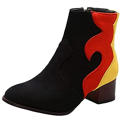 AbbyAnne Ankle Boots for Women Chunky Heel Stacked Booties Splice Dress Boots with Zippers Black Size 32 Asian