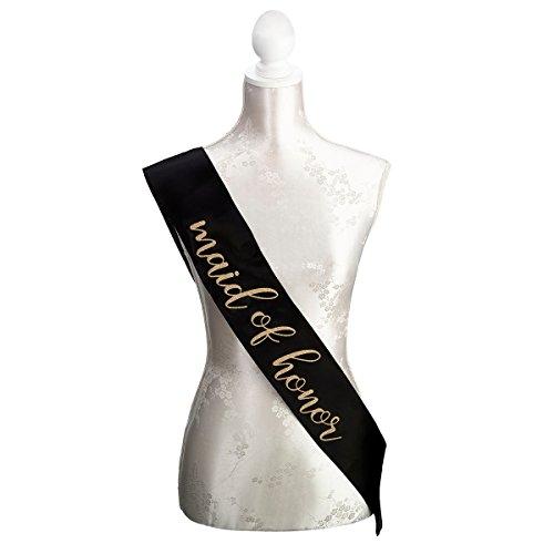 (Lillian Rose SA106 MH Black & Gold Satin Maid of Honor Sash, 33.5