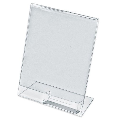 Dazzling Displays 4-Pack Acrylic 8.5 x 11 Slanted Sign Holder with Business Card Holder