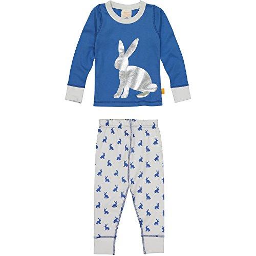 Masala Kids Toddler Girls' Kids PJS Long Sleeve Bunny Hop Silver, Blue, 2 Years