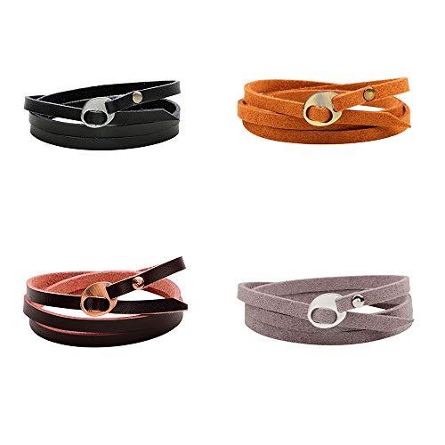 (Juland 4PCS Multilayer Leather Wrap Bracelet Multi Double Cuff Wristband Unisex Belt Adjustable Bangle Men's Women's)