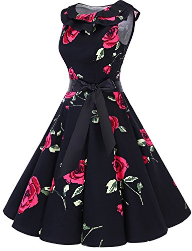 Women Sleeveless Vintage Collar Dress Red Party Rockabilly Flower Bridesmay Black Swing 50s Ruffle Cocktail SvRSwxqdI