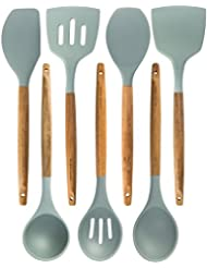 Silicone Cooking Utensils Kitchen Utensil Set   7 Natural Acacia Wooden  Silicone Kitchen Utensils Set
