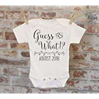 Guess What Pregnancy Reveal Onesie - Reveal to Husband Pregnancy Announcement Customized Coming Soon Onesie bodysuit creeper