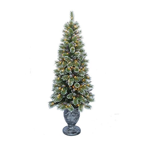 Martha Stewart Living 6.5 ft. Pre-Lit Sparkling Pine Potted Artificial Christmas (Potted Artificial Christmas Trees)