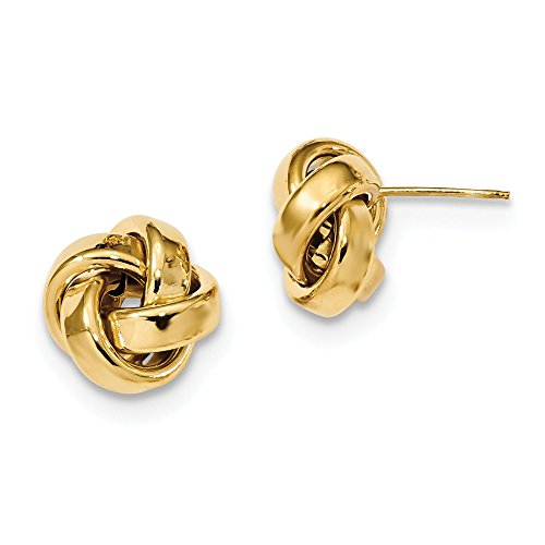 14k Yellow Gold Polished Love Knot Post Earrings 12 mm x 12