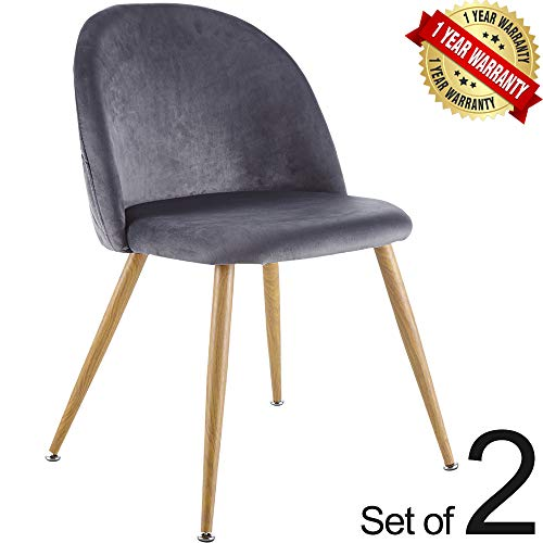 Set of 2 Modern Soft Upholstered Velvet Dining Chairs Accent Retro Design Side Chairs with Wooden Printed Metal Legs Color 3