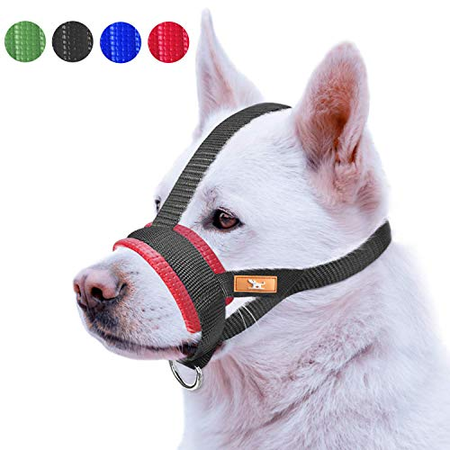 Petburg Nose Strap Dog Muzzle Prevent from Taking Off by Dogs for Small,Medium and Large Breed,Stop Puppy Biting and Chewing(M,Red)