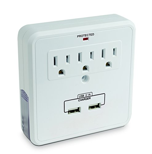 smartphone charging station with usb outlet multiplier - dual surge protector