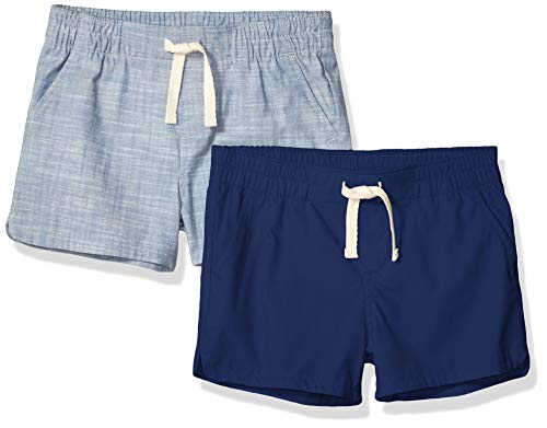 Amazon Essentials Toddler Girls' 2-Pack Pull-On Woven Shorts, Navy/Chambray 2T
